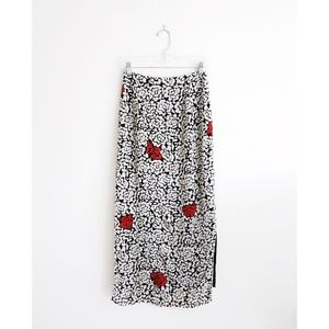 Vintage Black White Red Abstract Maxi Skirt fit XS